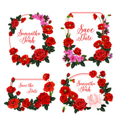 Wedding invitation design with frame of red flower vector