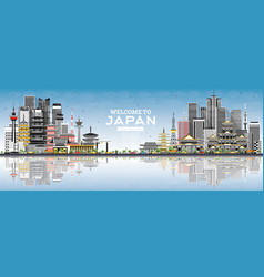 Welcome to japan skyline with gray buildings and vector