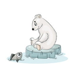 white teddy bear and fish vector image