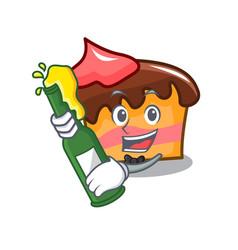 With beer sponge cake mascot cartoon vector