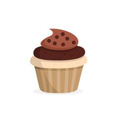 Yummy chocolate cupcake sweet food vector