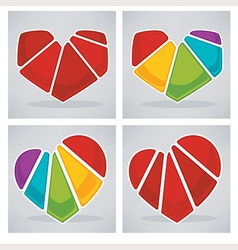 Bright hearts collection vector