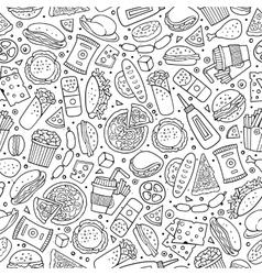 Cartoon cute hand drawn Fast food seamless pattern vector image vector image