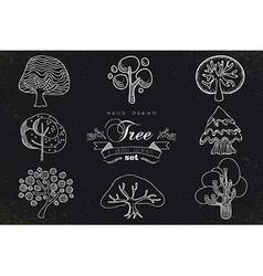 Custom hand made tree icons set vector image