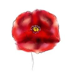 Digital Watercolor Poppy2 vector image vector image