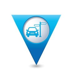 Direct car blue triangular map pointer vector