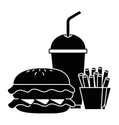 hamburger with soda and french fries vector image vector image