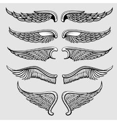 Heraldic bird angel wings set vector image vector image