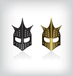 Medieval black and gold warrior helmet vector image vector image