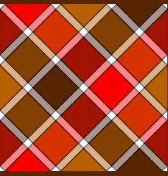 red orange color diagonal check plaid seamless vector image