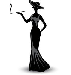 retro silhouette elegant smoking woman vector image vector image