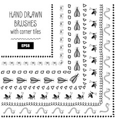 set of doodle decorative brushes hand drawn ink vector image vector image