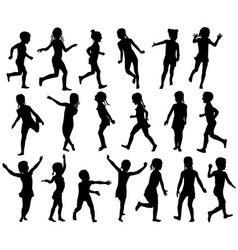 set silhouettes childrens jumping running vector image