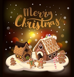 Cristmas background with gingerbread houses vector