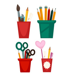 different cups with pencils vector image vector image