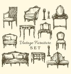 hand drawn vintage furniture set vector image