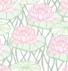 Ink hand drawn lotus pattern vector image