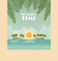 tropical beach poster on summer time vector image