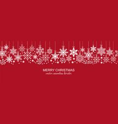 festive white seamless snowflake border on red vector image vector image