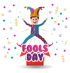 joker jumping jack in the box surprise fools day vector image
