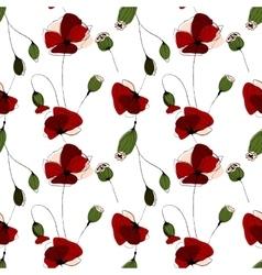 Poppy flower field seamless pattern vector