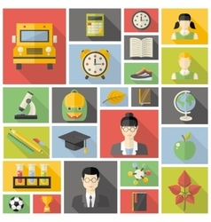 Education fla icon set vector image vector image