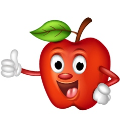 funny red apple thumbs up vector image vector image