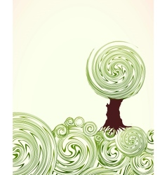 Hand Drawn ornate swirl grass and tree vector image vector image