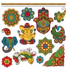set of Indian symbols for design vector image