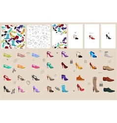 Set with woman shoes vector image