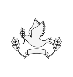 Silhouette pigeon with olive branch and label vector