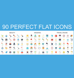 90 modern flat icon set of beauty wedding travel vector image