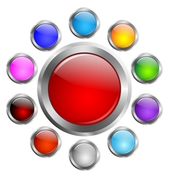 A set of colored buttons vector image