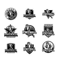 American football sport badge set in black vector