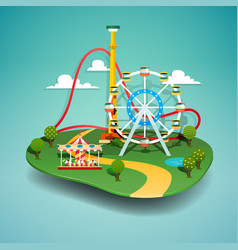Amusement park paper cut vector