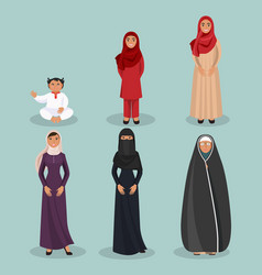 arabic women generations from child to elderly vector image