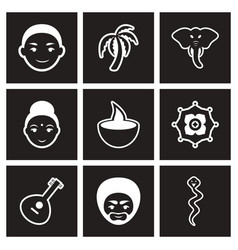 Assembly stylish black and white icons india vector