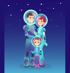 astronauts family spaceman vector image