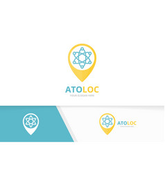Atom and map pointer logo combination vector