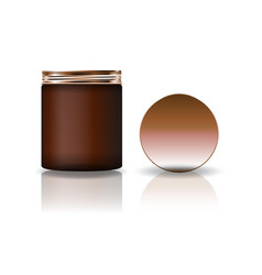 blank brown cosmetic round jar with copper lid vector image