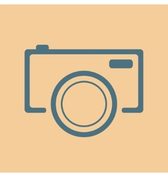 Blue camera icon on orange background vector