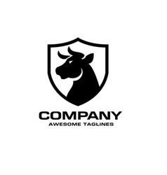 bull head black shield logo concept vector image