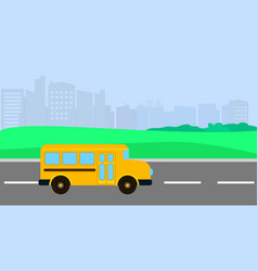bus driving to school background flat style vector image