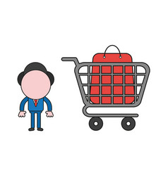 businessman character with shopping bag inside vector image