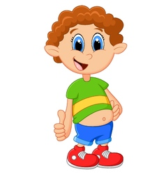 Cartoon boy giving thumb up vector