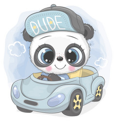 Cartoon panda boy in a cap goes on a blue car vector
