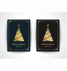 christmas greeting card with tree silhouette vector image