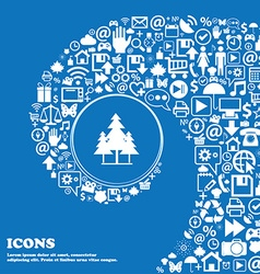 Christmas tree icon Nice set of beautiful icons vector