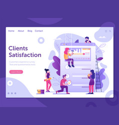 client satisfaction and feedback survey web banner vector image