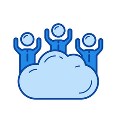 cloud access line icon vector image